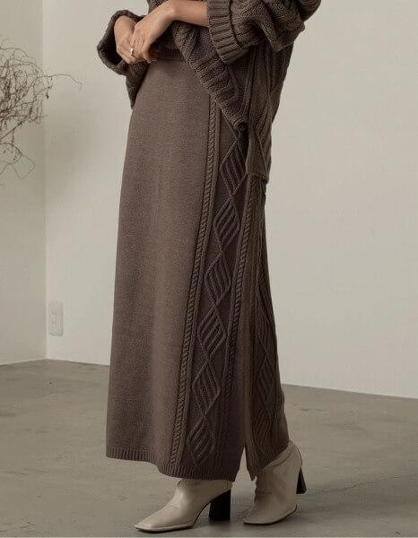 Re:EDIT_サステナニットシリーズ_サスティナビリティ_サステナブル_バルキーニットケーブルタイトスカート 3,180円(税抜)