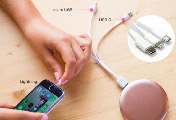 パールコンパクトミラー&モバイルバッテリー 4,180円(税込)