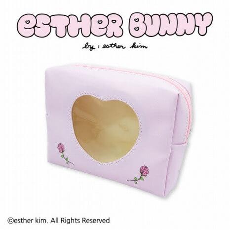 Esther Bunny_コラボ_サンキューマート_ハート型窓付きポーチ