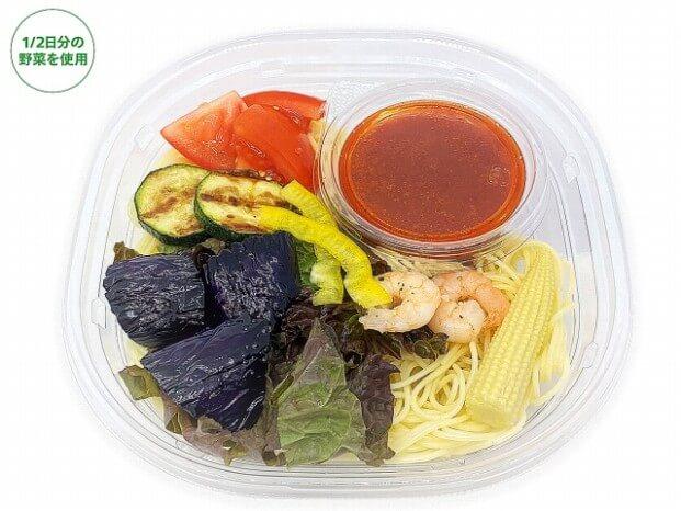 セブン-イレブン夏野菜とトマトソースの冷製パスタ 498円(税抜)